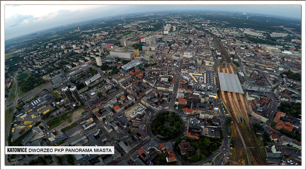 dron dworzec pkp katowice widok z lotu