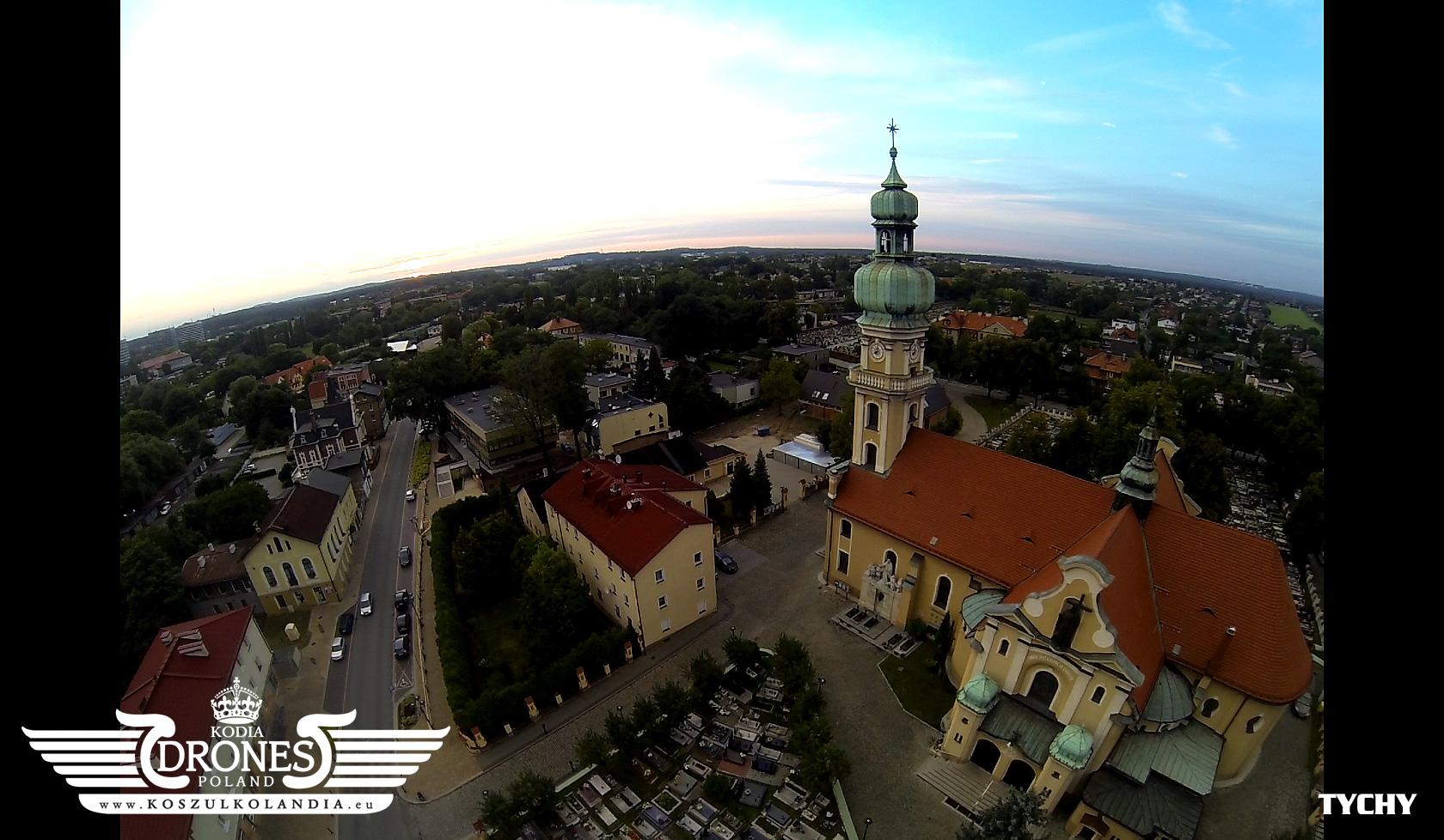 tychy kościół marii magdaleny w tychach z lotu ptaka drona