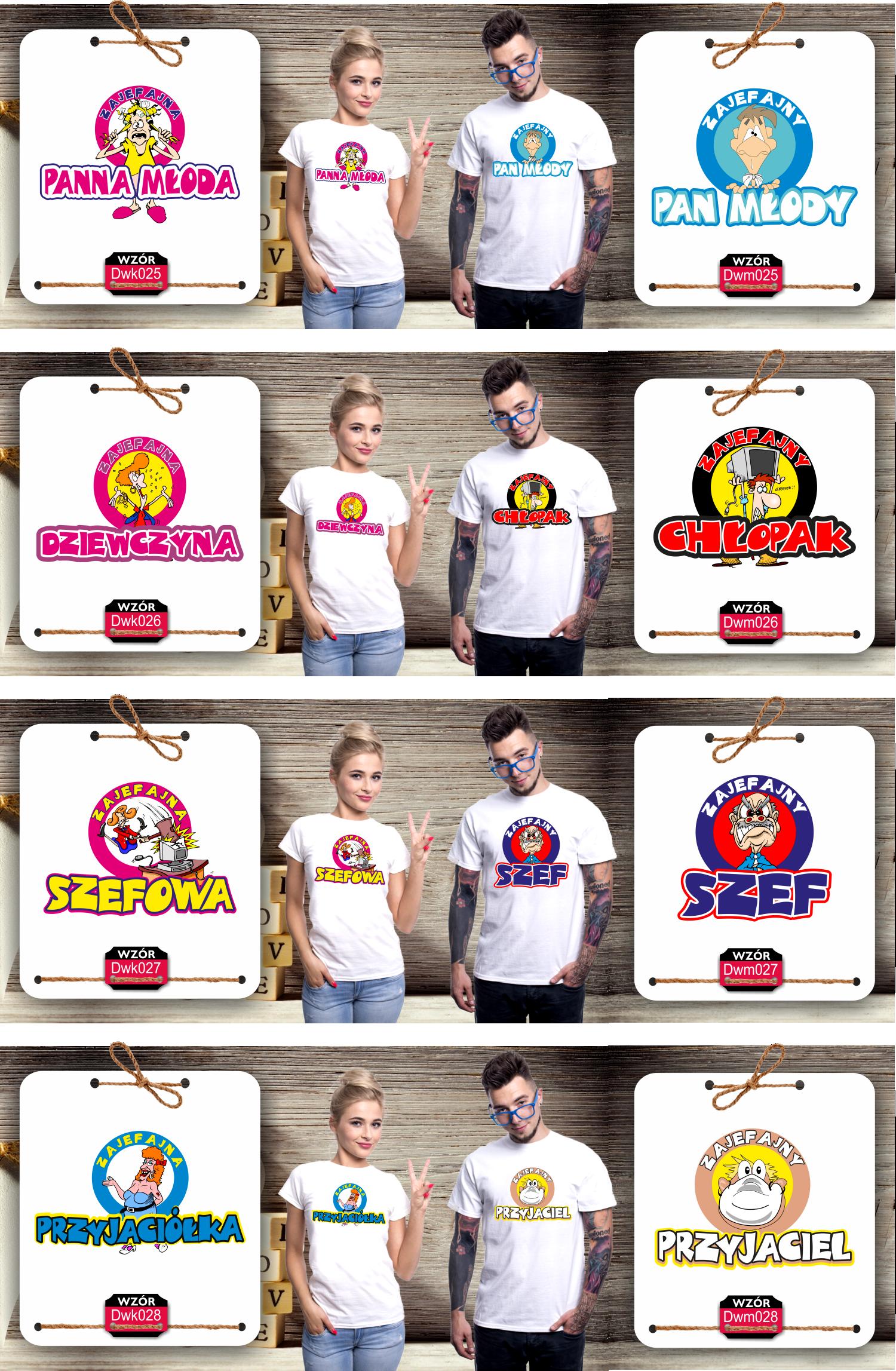 koszulki dla par singli na prezenty z super nadrukiem